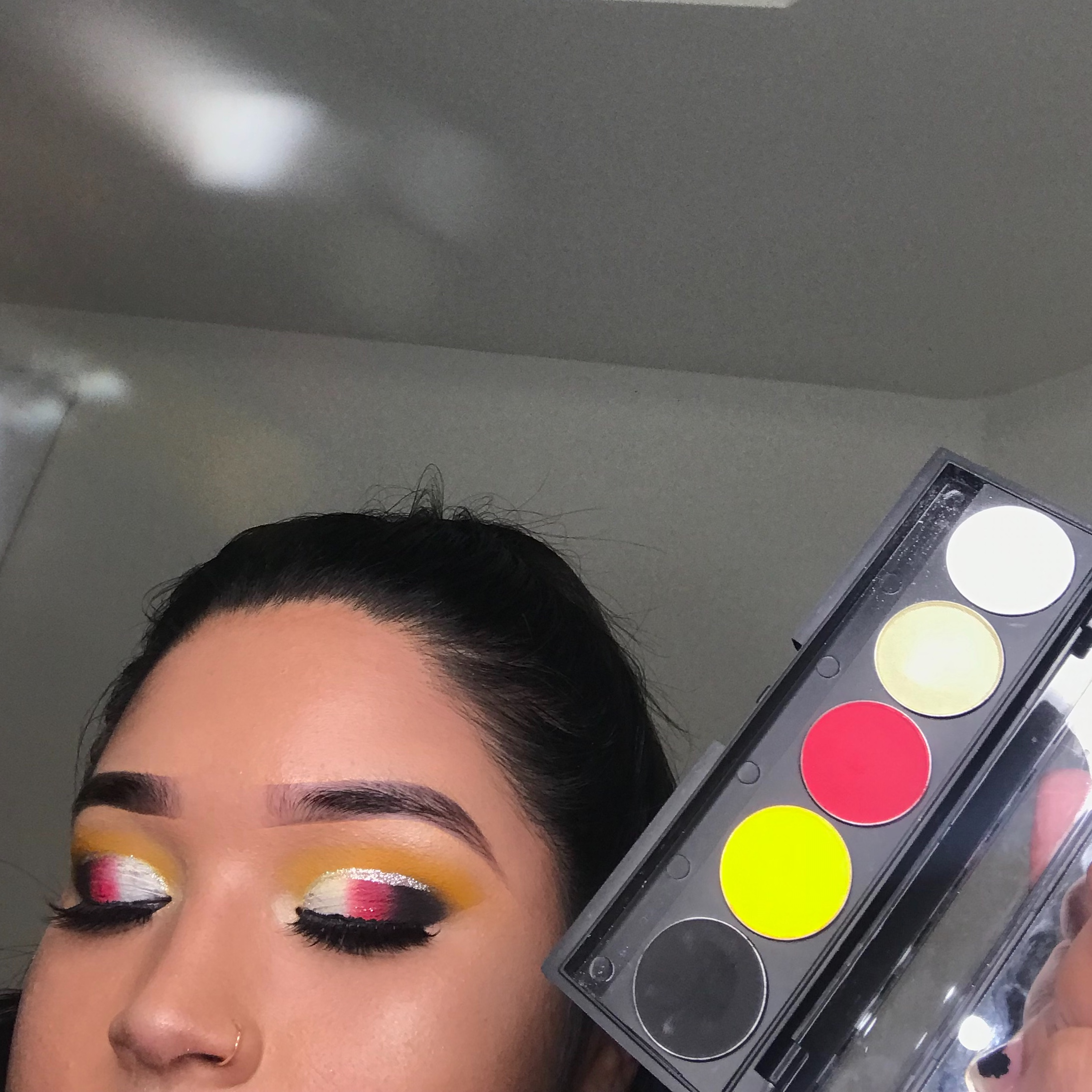 VanessaBillie  Eyeshadow Palette Matte White Crystal Vallina Hot Red Canary Yellow Black Out